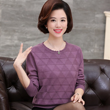 цены на Fashion O-neck Sweater Tops 2019 Autumn Winter Middle Aged Women Knitted Pullovers Long Sleeve Jumper Pull Femme Clothing в интернет-магазинах