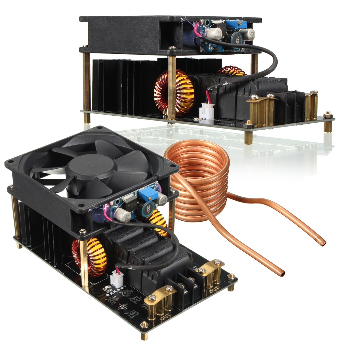 1 PC ZVS Machine de chauffage par Induction ventilateur de refroidissement PCB Tube de cuivre 12-36 V 1000 W 20A haute fréquence Module de chauffage par Induction