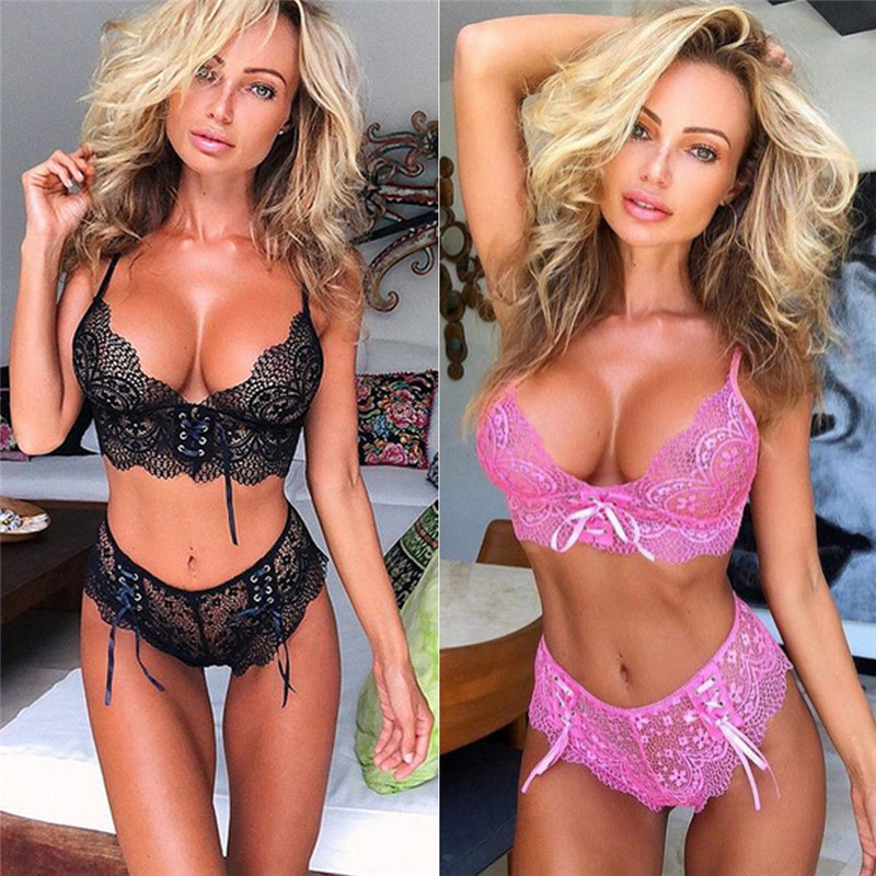 Women's Sexy Lingerie Lace Thong G-string Underwear Bra Set Babydoll Sleepwear Nightwear Women Clothes Set Corset Push Up Bra