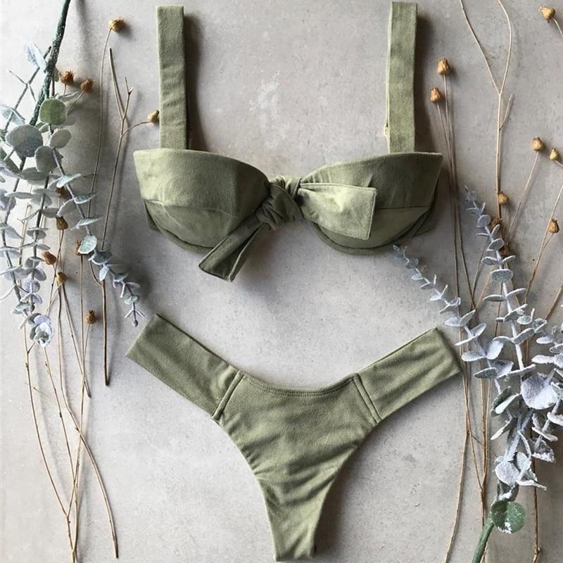 2020 Summer Thong Sexy Bikinis Mujer Biquini Front Tie Sheer Swimsuit Push Up Swimwear Women Beach Wear Female Bathing Suit