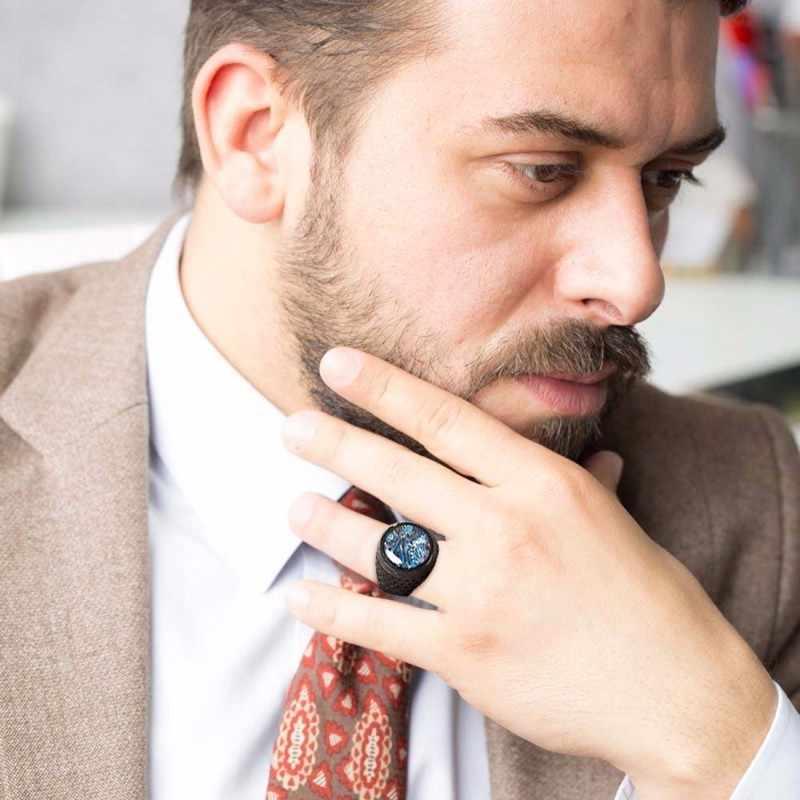 Mannen Sieraden Abalone Shell Platte Signet Ring in Zwart Rvs Heavy Ringen Band Mannelijke Sieraden
