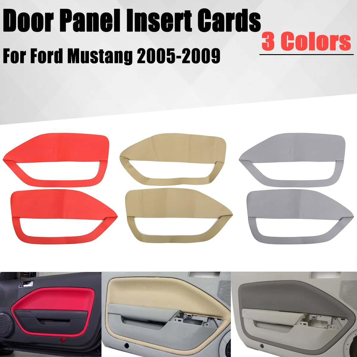 1 Pair Door Panel Insert Cards Synthetic Leather Fit For <font><b>Ford</b></font> For <font><b>Mustang</b></font> 2005 <font><b>2006</b></font> 2007 2008 2009 Front Door Plate Parts image