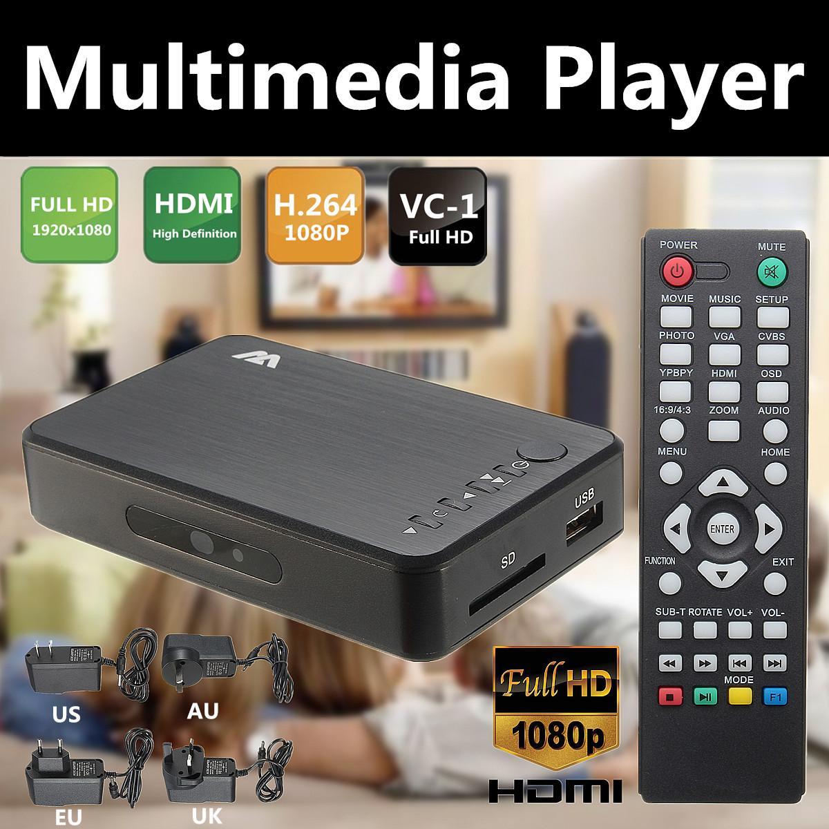 Lecteur multimédia Full 1080P HD HDMI/VGA/AV avec télécommande boîtier TV 3 FAT32 NTFS sortie EU/UK/US/AU Installation facile Portable