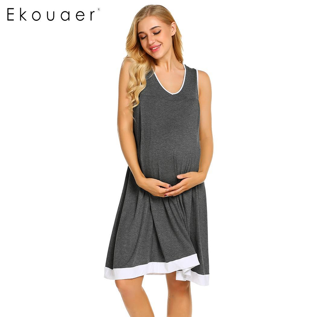 Ekouaer Summer   Nightgown   Women   Sleepshirts   Sleeveless Maternity Nursing Sleepwear Nightdress Ladies Home Clothing