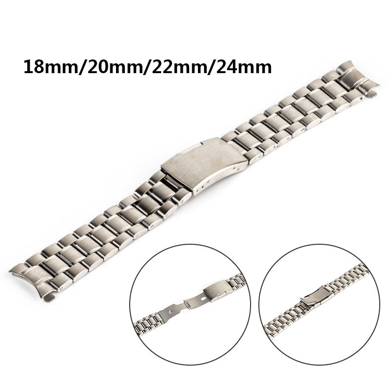 18mm/20mm/22mm/24mm Fashion Men Women's Watch Strap Stainless Steel Solid Chain Watch Band Steel Color