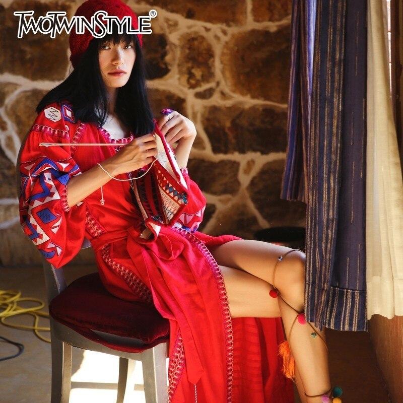 Broderie Patchwork Twotwinstyle Pour 2019 Robes Gland De Longues Bandage Les Femmes Lanterne Manches Printemps Red Femme Robe Vintage Mode KclF1J