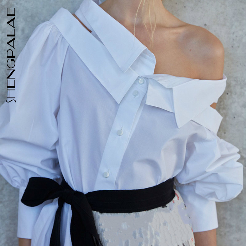 SHENGPALAE 2019 solide blanc Double couche col Blouses à manches longues personnalité mode lâche grande taille femmes chemise Tide FN094