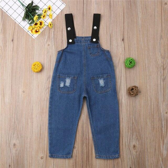 c965a616aa3e8 Baby Boys Girls Jeans Overalls Toddler Kids Denim Rompers Cute Cartoon Bebe  Jumpsuit Long Children Pants