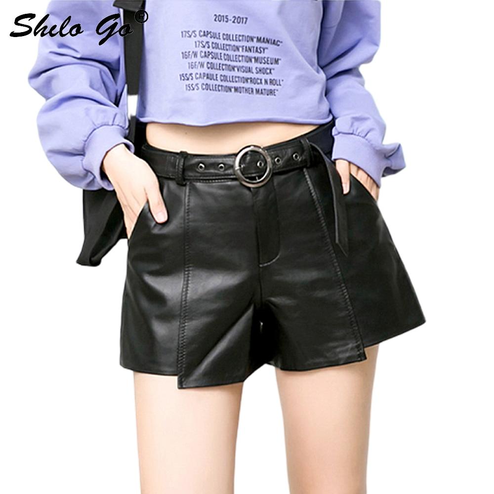 Metal Belt Leather Shorts Women Summer Streetwear High Waist Sheepskin Genuine Leather Hot Shorts Casual Side Pocket Lady Shorts