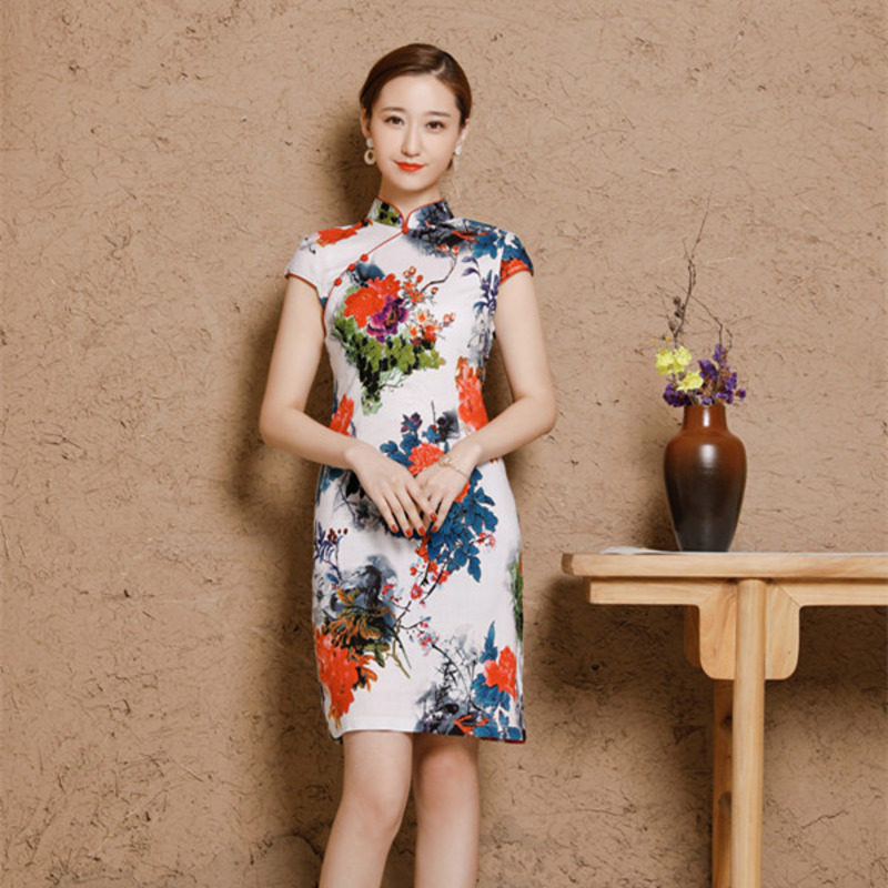Image 3 - 5XL Women's Cotton Oriental Style Dresses Printing Elastic Qipao New Short Cheongsam Restore Ancient Traditional Chinese Dress-in Cheongsams from Novelty & Special Use