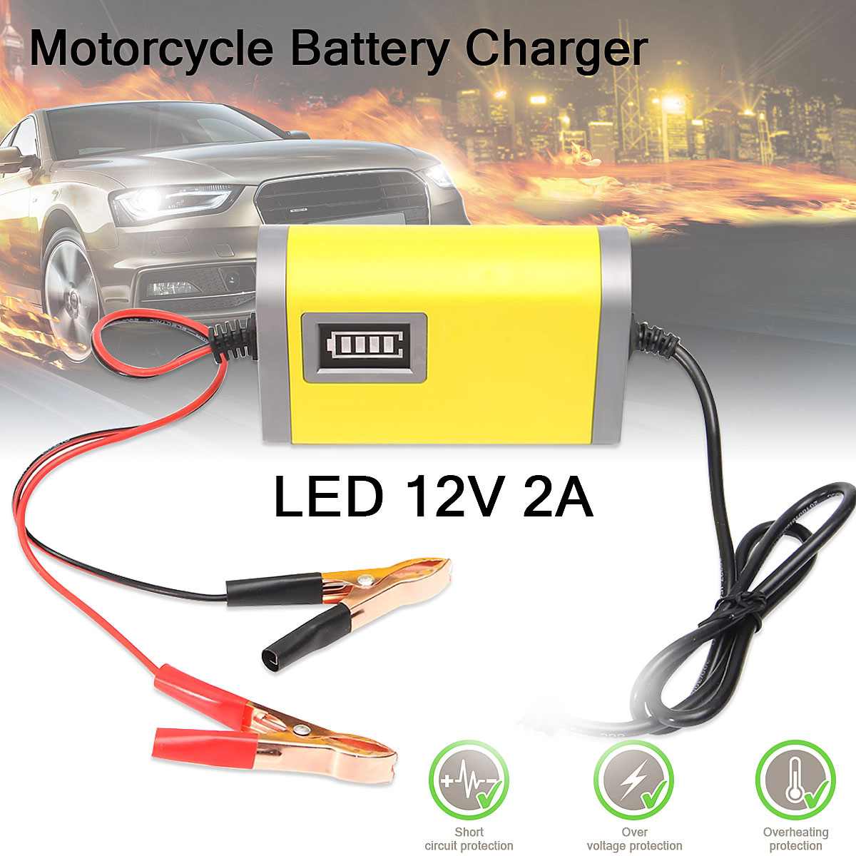 Smart Automatic 12V 2A <font><b>Car</b></font> Motorcycle <font><b>Battery</b></font> <font><b>Charger</b></font> Maintainer <font><b>Trickle</b></font> for <font><b>Car</b></font> Motorcycle image
