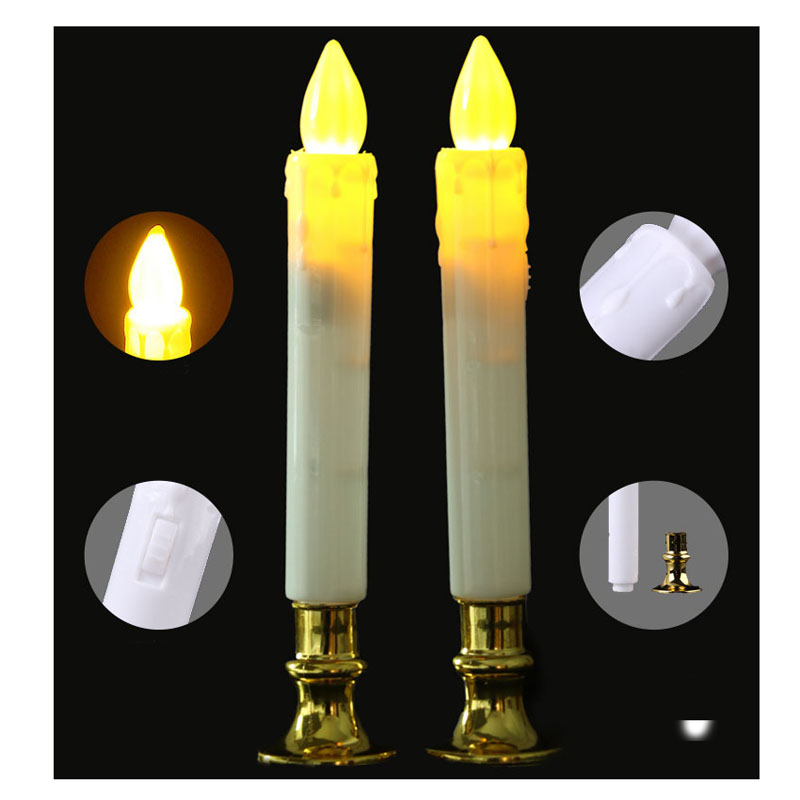 Candles Whism 2pcs/set Electric Flameless Led Candles Lights With Battery Safety Simulation Candle Lamps Wedding Birthday Party Decor And Digestion Helping