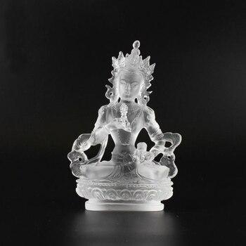 Tibetan Buddhism Hand Made Liuli Colored Glaze Statue Vajrasattva White Buddha Statue