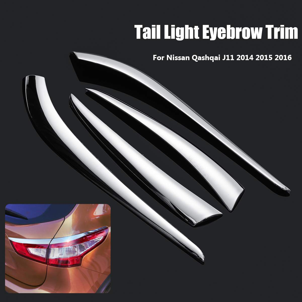 Car Rear Tail Light Lamp Eyebrow Eyelid Cover Trim ABS Chrome Decoration Accessories For Nissan Qashqai J11 2014 2015 2016