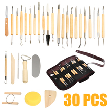 30pcs Clay Sculpting Set Sculpt Smoothing Wax Carving Pottery Ceramic Tools Wooden Handle Shapers Modeling Carved Tool