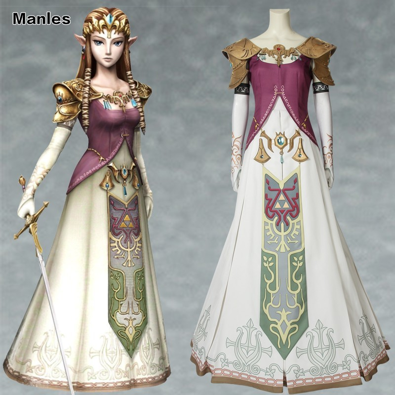 Us 30 59 27 Off The Legend Of Zelda Twilight Princess Costume Princess Zelda Cosplay Dress Halloween Custom Made Women Elegant With Headwear In Game