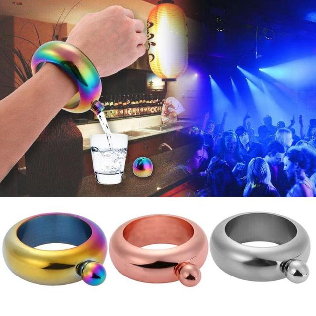 3.5oz Bracelet Alcohol Hip Flask Funnel Bangle Jug Stainless Steel Whiskey Drinkware Funnel Set Bracelet Jewelry Gifts