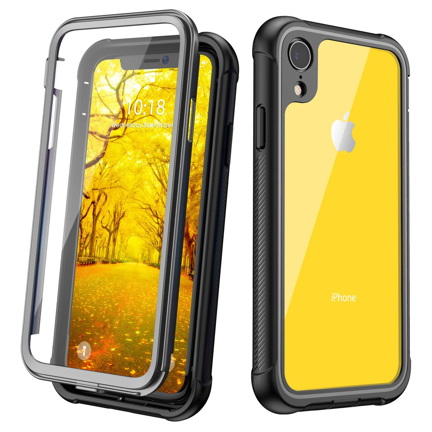For Apple iPhone XR XS Max Case 360 Degrees Protection Full body Rugged Clear Bumper Case With
