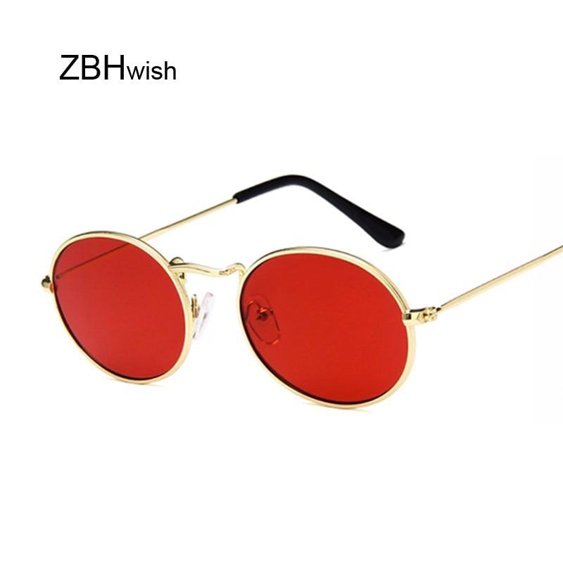 Retro Oval Sunglasses Women 2019 Luxury Brand Designer Vintage Small Black Red Yellow Shades Sun Glasses Female Oculos UV400