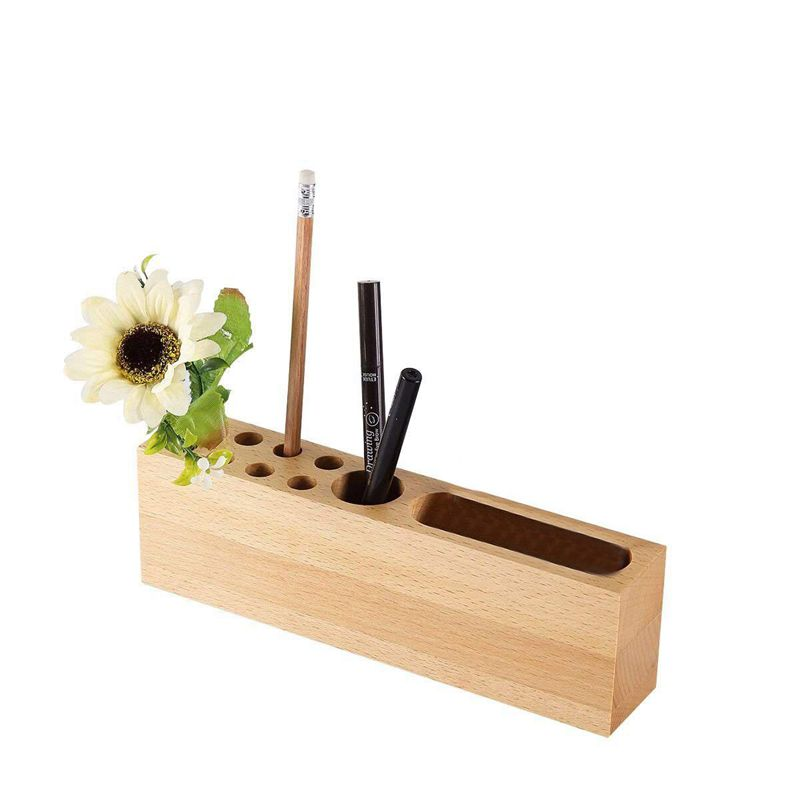 Office Supplies Desktop Storage Box Stationery Solid Wood Pen Holders,Mobile Phone Stand Wood Pen Stand 10 Slots Desk Organize