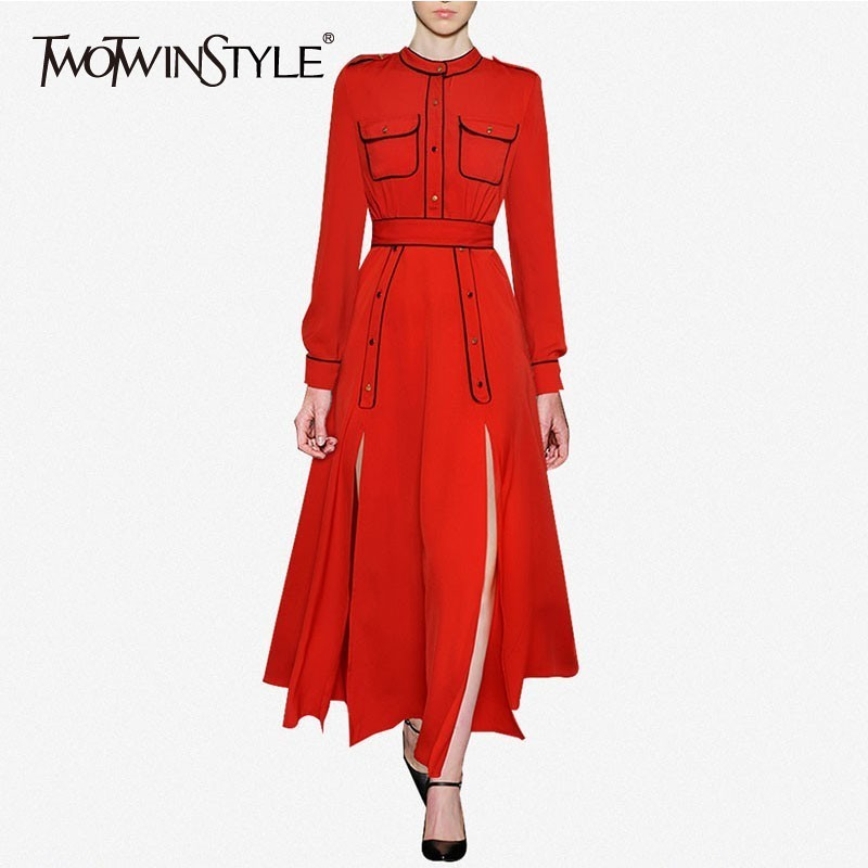 TWOTWINSTYLE Elegant Shirt Dress Women Long Sleeve High Waist Lace Up Side Split Long Dresses Female