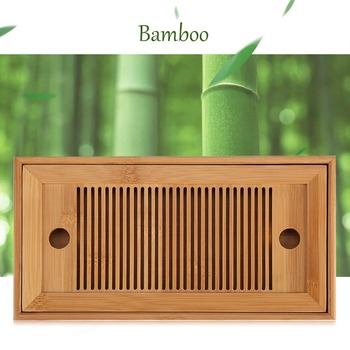 Bamboe Thee Trays Kung Fu Thee Accessoires Thee Lade Tafel Met Afvoer Rack 25X14X3.5Cm Chinese thee Dienblad Set