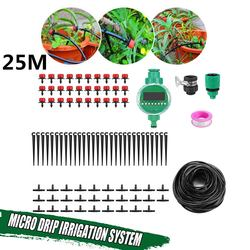 25m DIY Micro Drip Irrigation System Garden Plant Self Automatic Watering Timer Garden Hose Kits With Adjustable Dripper