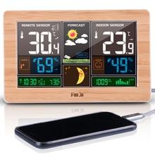 Fanju fj3378 estação meteorológica temperatura relógio de mesa usb carregador snooze despertador fase da lua previsão do tempo staion