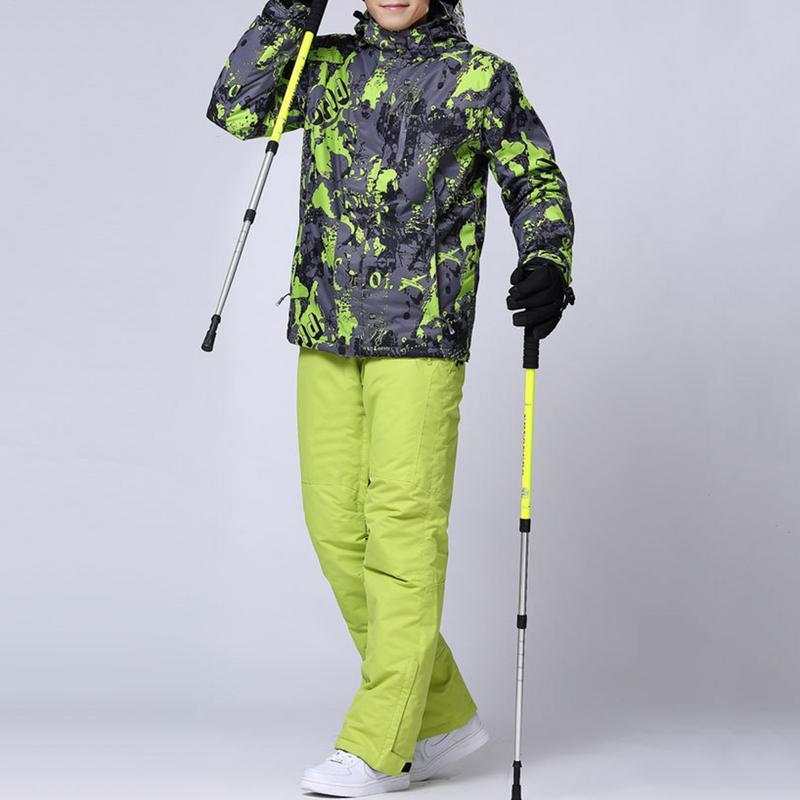 Hiver hommes femmes veste de Ski costume en plein air imperméable coupe-vent chaud pantalon de Ski costume veste Fiber coton Pro équipement de sport