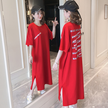 #4941 Summer 2020 Straight Red T Shirt Dress For Women Short Sleeves Round Neck Letters Printed Midi Dresses Ladies Cotton Split red round neck flared sleeves blouse