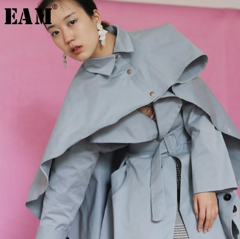EAM 2019 New Spring Lapel Long Sleeve Personality Irregular Large Size Loose Cloak Windbreaker Women