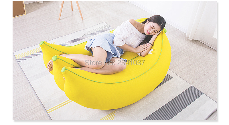 Belle banane maille tissu haricot sac canapé pour enfants chambre canapé Tatami mini canapé enfants canapé fauteuil enfant détachable et lavable