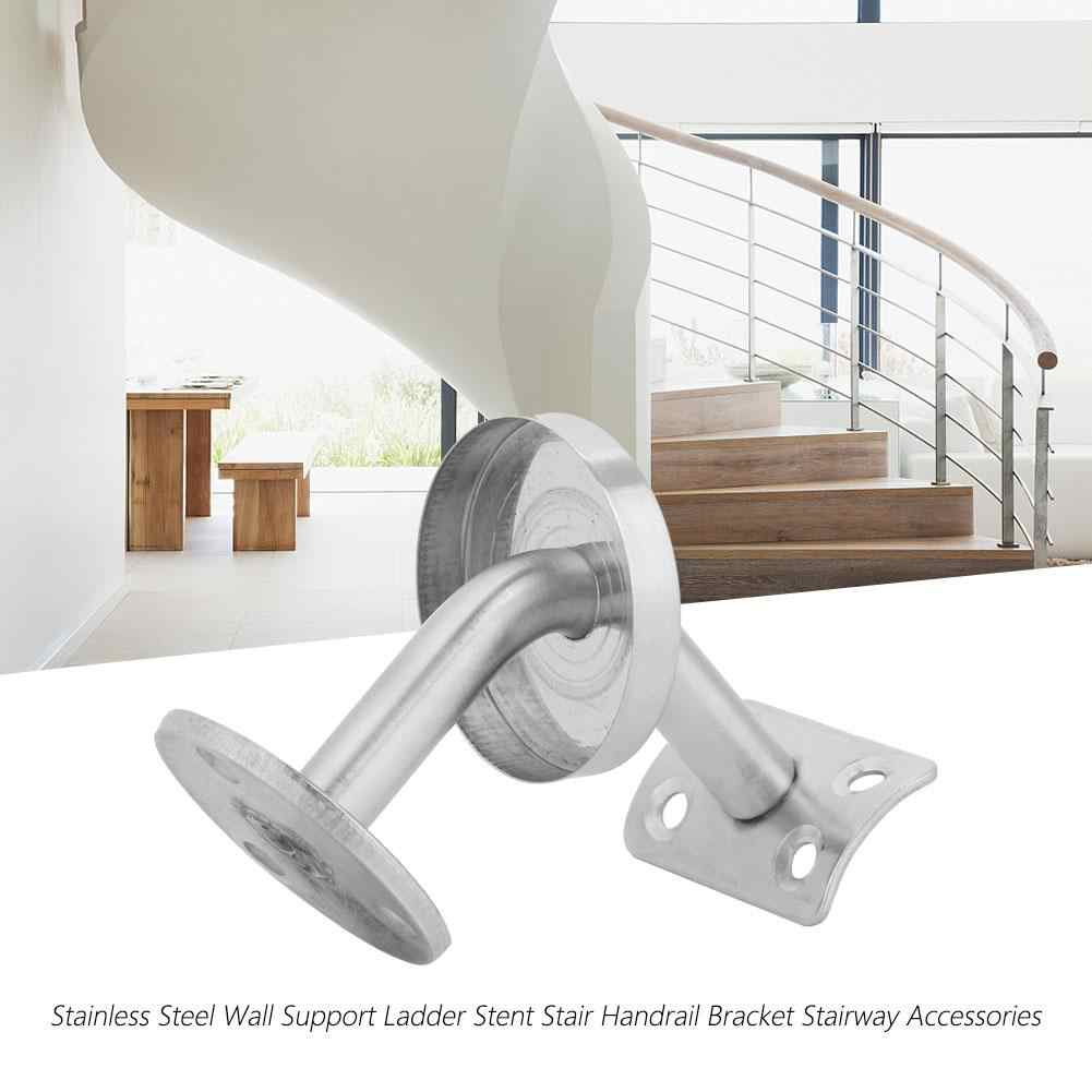 Wall Brackets Brushed Stainless Steel Handrail Stair Wall Mounted | Wall Mounted Stair Railing | Rustic Wooden Handrail | Wall Mount Window | 90 Degree Stair | Drawing Wall | Wall Fixed Metal