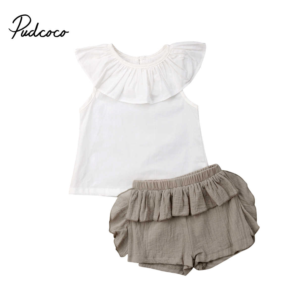 Kid Toddler Baby Girls Ruffle Tops T-shirt Short Pants Outfits Set Summer Casual