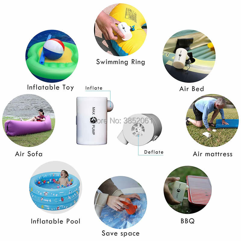 Portable Electric Air Pump For Inflatable Car Travel Bed,USB Rechargeable Max Air Pump-Quick Inflate For Mattress With 3600mAH