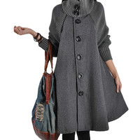 High quality women's long Sleeve loose casual red Black Grey wool knit cloak A word wool windbreaker New Arrival fashion Outwear
