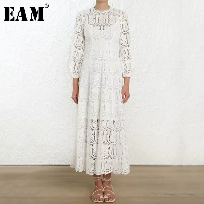 [EAM] 2019 Spring Winter Woman Temperament White Color O neck Lantern Sleeve Long Straight With Inner Braces Lace Dress LE970