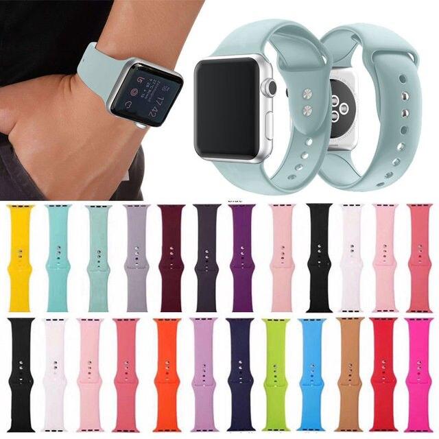19 צבעים סיליקון רצועות יד בנד צמיד החלפה עבור אפל שעון iWatch סדרת 3/2 38 MM 42 MM
