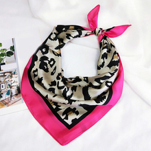 Hot New women Square Silk Head Neck Scarf Retro Hair Tie Band Fashion Sexy Leopard Printed Satin Wraps