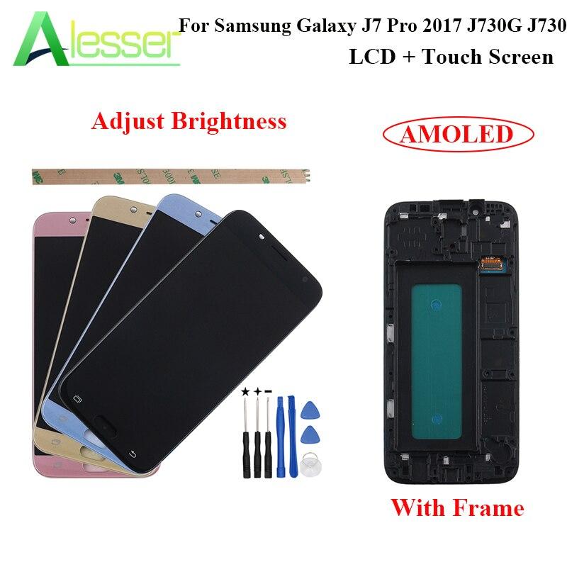 Alesser pour Samsung Galaxy J7 Pro 2017 J730G J730 écran tactile LCD avec cadre Amoled remplacement ajuster la luminosité + outil