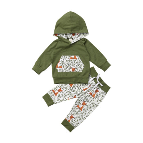 Baby Hoodie Pockert Pants Clothes Set Floral Fox Tops Pants Outfits Casual Winter 2PCS Clothing Newborn Kids Baby Girl 0-3T