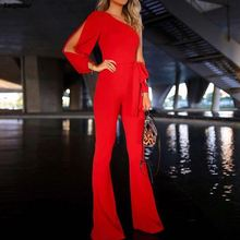 Women New Fashion Stylish Office Lady Solid Party Elegant Jumpsuit One Shoulder Slit Sleeve Casual Summer 2018