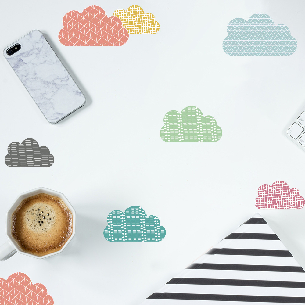 Funlife DIY Color Cloud Home Decoration Sticker Nordic Ins Style Bedroom Children Room Glass Waterproof Transparent Wall Sticker