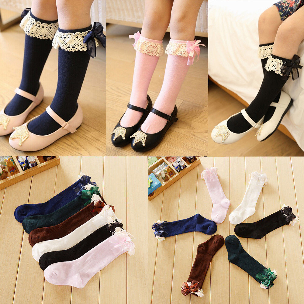 Cute Kids Baby Girl Elastic Socks Toddler Girl Lace Bow Princess Cotton Blend Warm Socks White Black Pink Blue Green Coffee