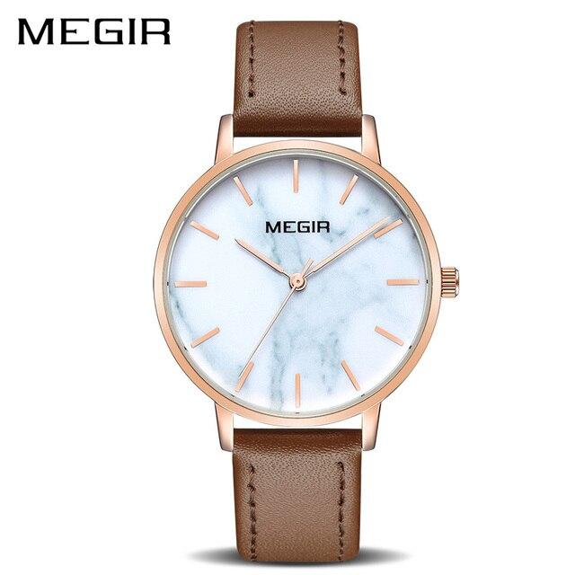 032bdbc3955 MEGIR Ultra Fino Mulheres Relógios Top Marca de Luxo Relógio de Quartzo de  Couro Moda Casual À Prova D  Água Relógio Do Esporte Mulher Reloj Mujer