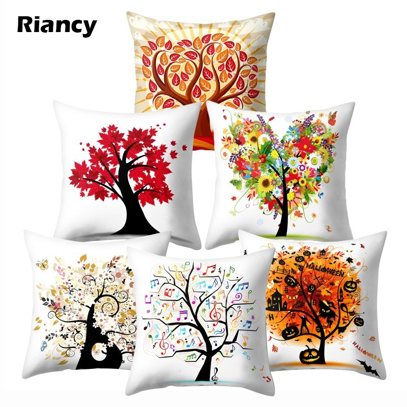 Us 1 67 37 Off Colorful Tree Of Life Cartoon Printed Pattern Cushion Cover 45 Polyester Throw Pillow Decorative Sofa Cushions Pc 40597 In