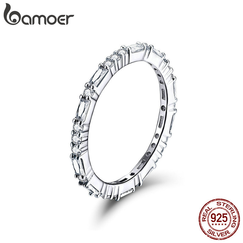 BAMOER Wedding Ring Clear AAA Cubic Zirconia Finger Rings For Women Statement Promise Engagement  925 Silver Jewelry SCR504