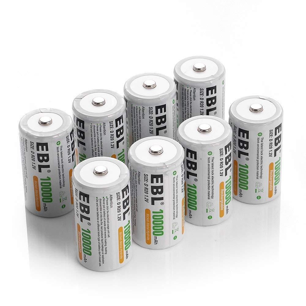 EBL paquet de 8 piles rechargeables Ni-MH D 10000 mAh, boîtier de batterie inclus