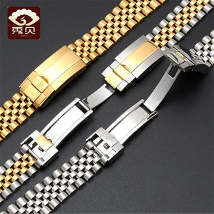 Image 5 - New High quality Stainless Steel Watchband Gold Silver Bracelet with Oyster Buckle 20mm for RX Perpetual Day Date Datejust Watch