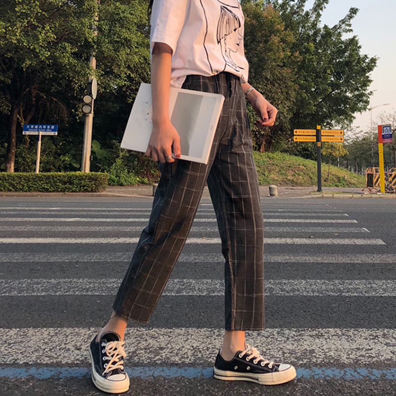 office lady style 2018 summer new fashion high pure color patchwork plaid print elastic waist drawstring long straight pants 2